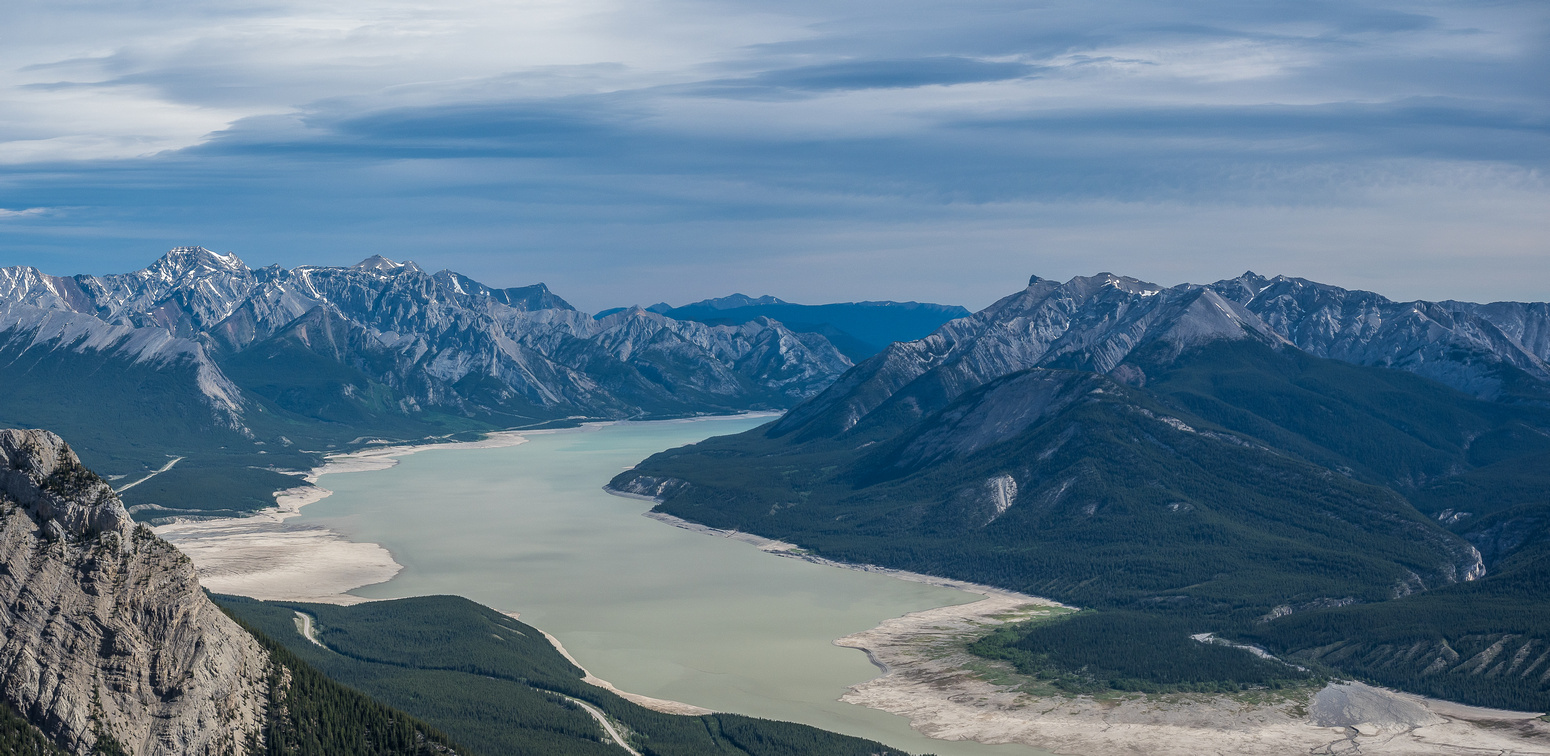 Looking east over Abraham Lake. At left is Allstones and Abraham Peaks and at right is Mount Michener.