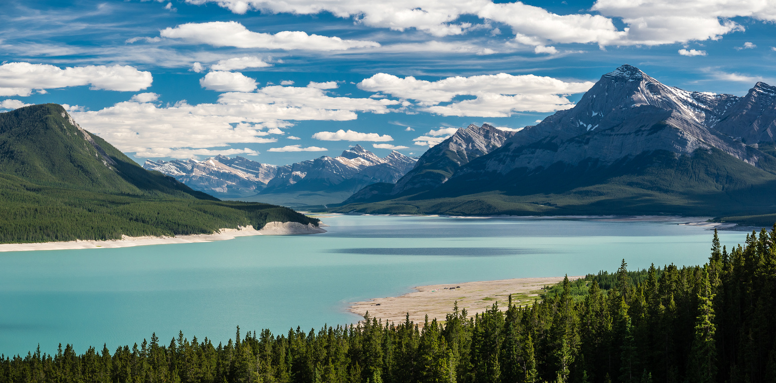 Great early evening views out over Abraham Lake towards Elliott Peak on the right.