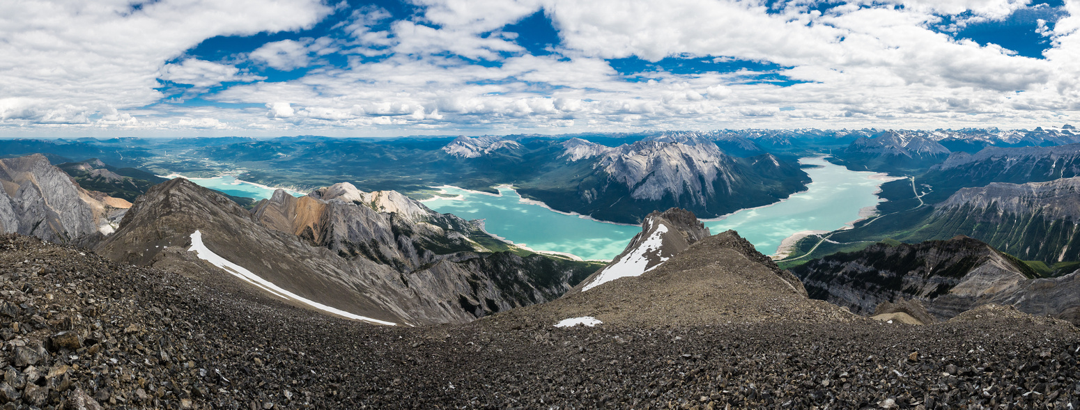 Stunning views from the summit over Abraham Lake.