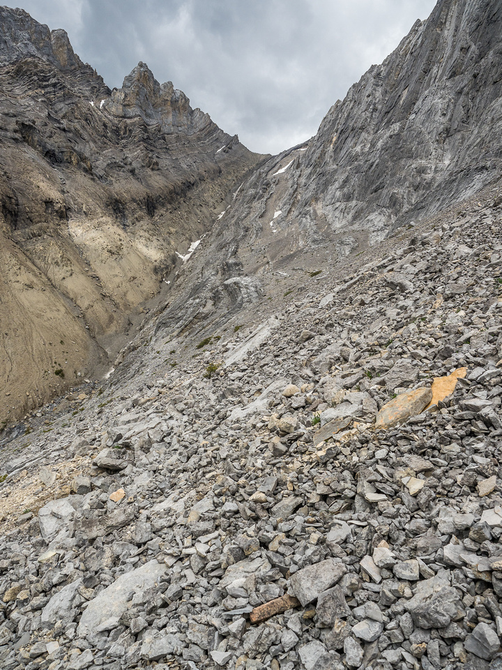 Finally nearing the scree gully. Note the 'small' snow patch near the 'top'? It's not small and that's not the top.