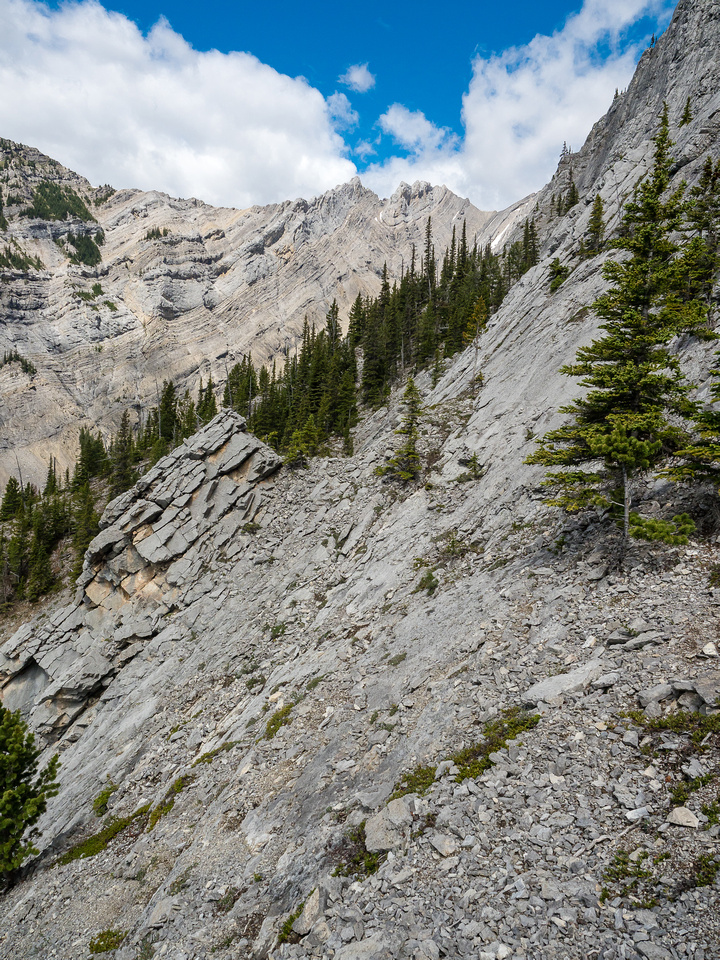 A short traverse to the top of the narrow downclimb.