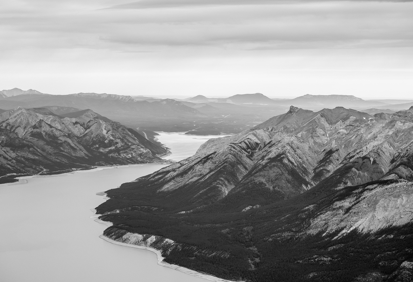 Looking over Mount Michener towards the end of Abraham Lake and the foothills beyond to the Bighorn Range.