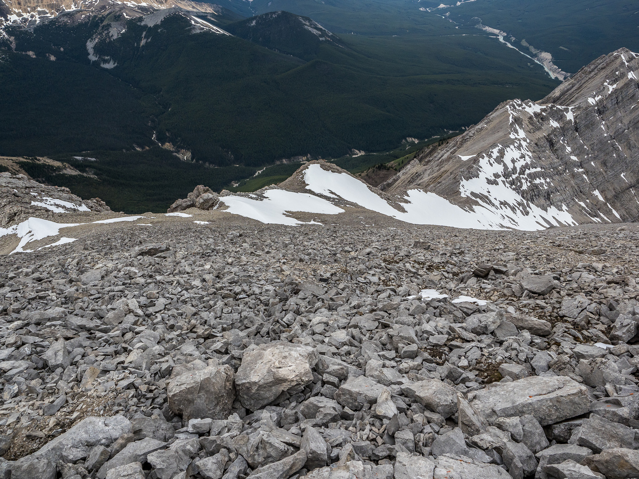 Distance makes everything look easy again as I look down from the scree / boulder slope to the summit.