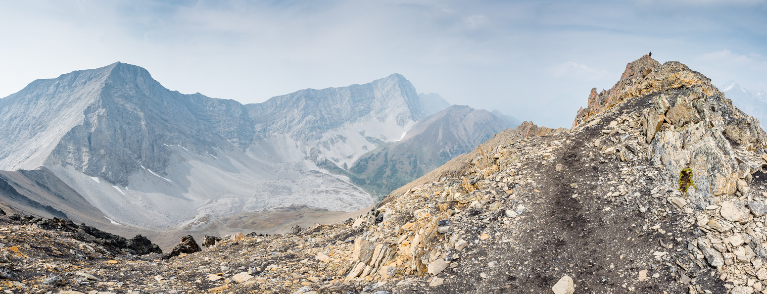 Nearing the summit with some more easy scrambling sections. From L to R is Tyrwhitt, Pocaterra and Pocaterra Ridge.