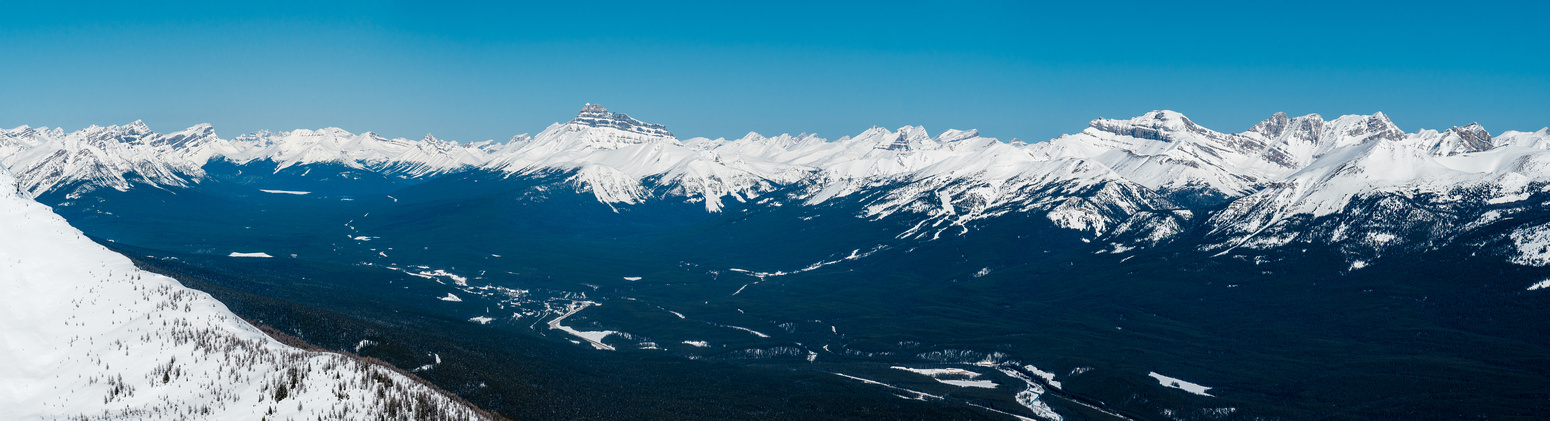 Looking across the Bow Valley towards familiar peaks such as Waputik, Bow Peak, Mount Hector, Molar, Willingdon, Harris, Richardson, Pika, Ptarmigan and Lipalian (L to R).