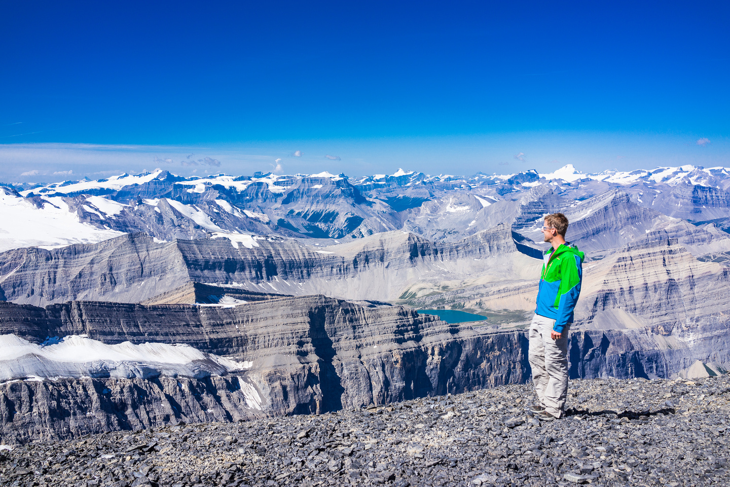 Vern on the summit of Mount Cline with Mount Columbia and many other giant peaks in the back ground.