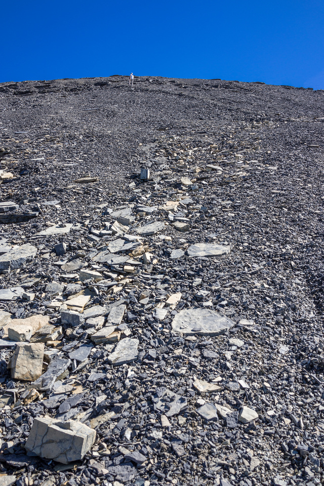 More scree to the summit.