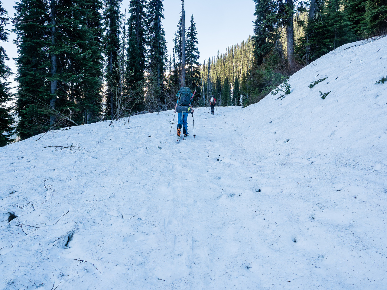 We reach snow much earlier and lower down than on our last trip.
