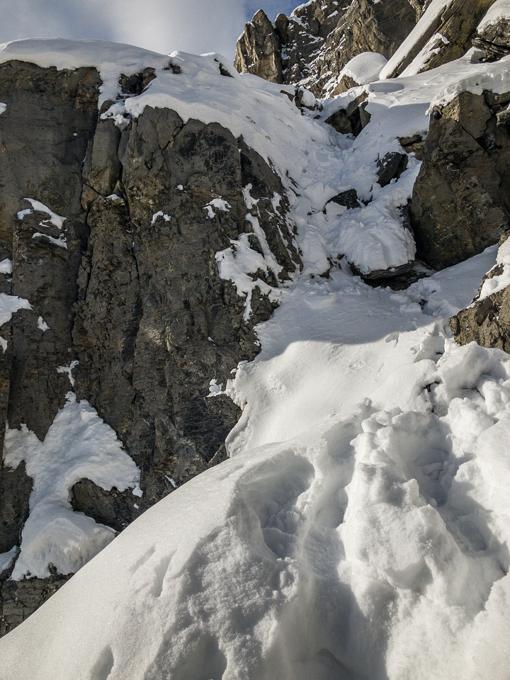 Looking back up the moderate (short) crux gully.