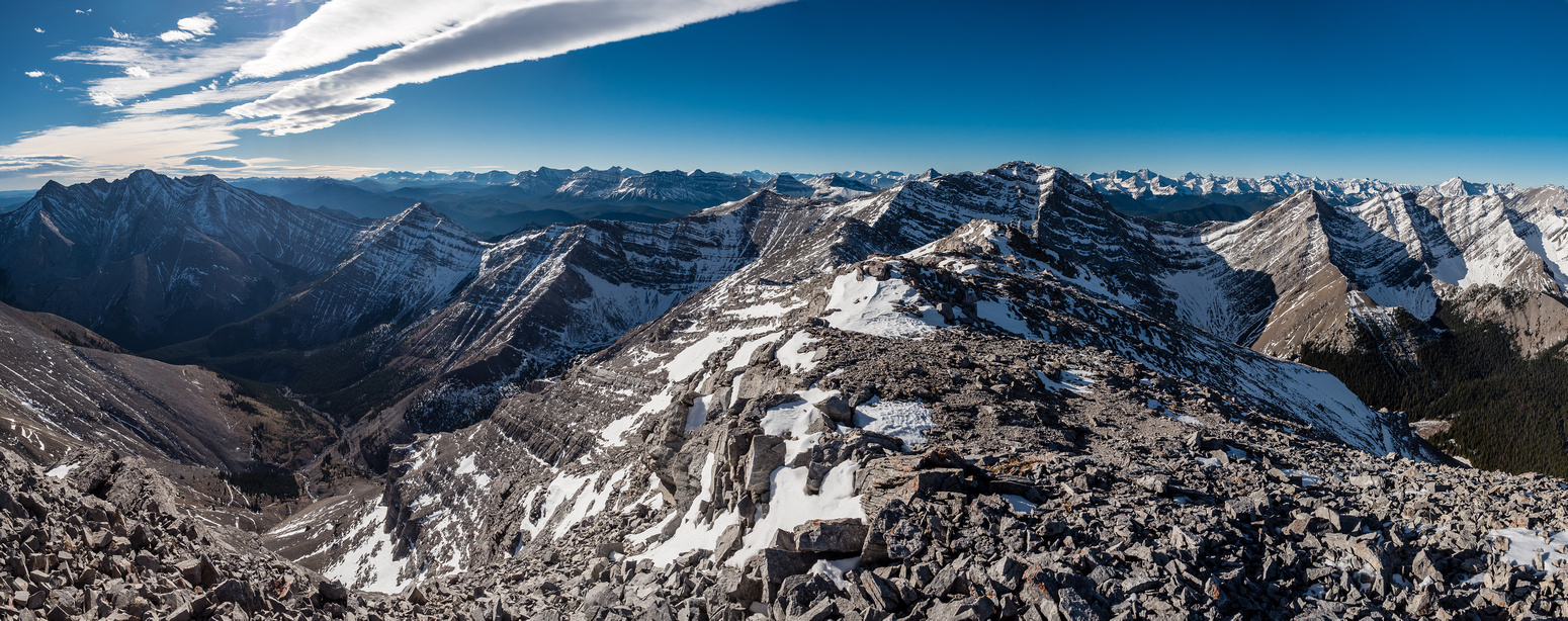 Mount Head, Serendipity, Pyriform S5 and Lineham Creek Peaks with the High Rock Range in the distant background.