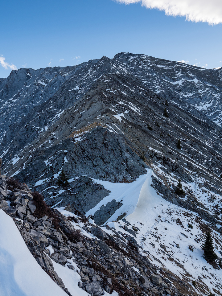 """You can see the broken terrain to the summit isn't quite a """"hike"""" - it's a scramble."""