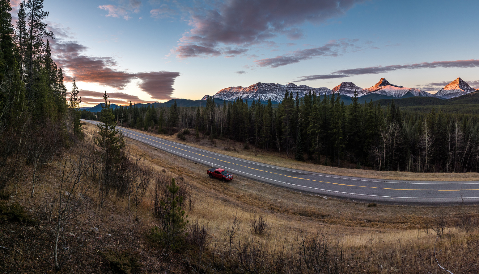 Looking across Hwy 40 just before plunging into the bush towards McPhail, Muir, Strachan and MacLaren (R to L).