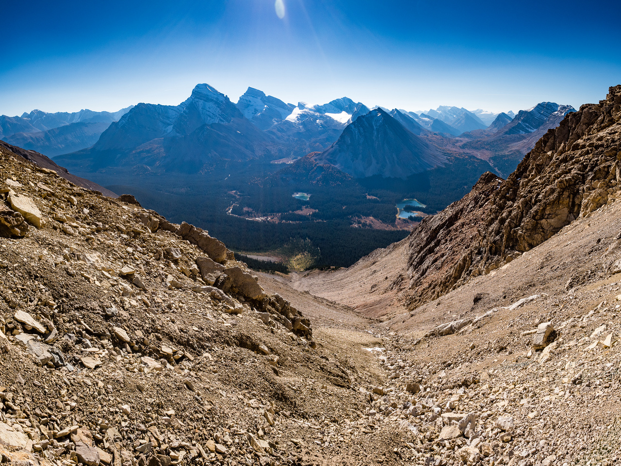Looking back down the huge SE gully towards the Red Deer Lakes. Douglas, St. Bride, Lychnis and Oyster Ridge at center.