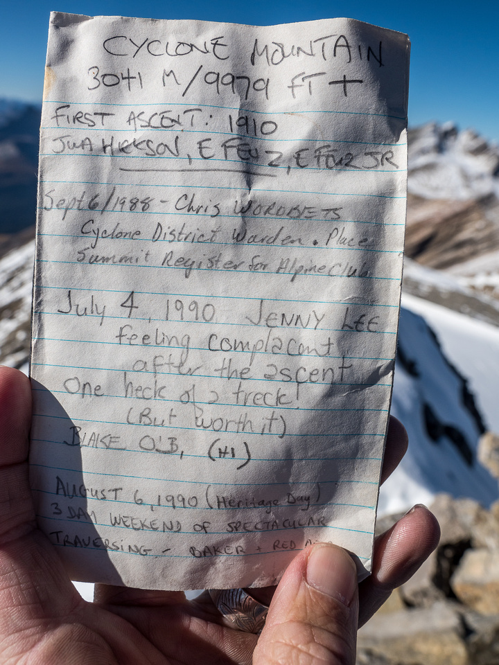 Cyclone's summit register shows an average of less than 1 ascent every 2 years since it was placed.