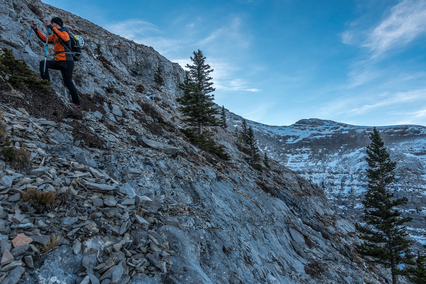We got lucky by avoiding any difficult terrain either above or below us as we traversed back to the west (L) before finding the scree slope leading up to the south ridge.