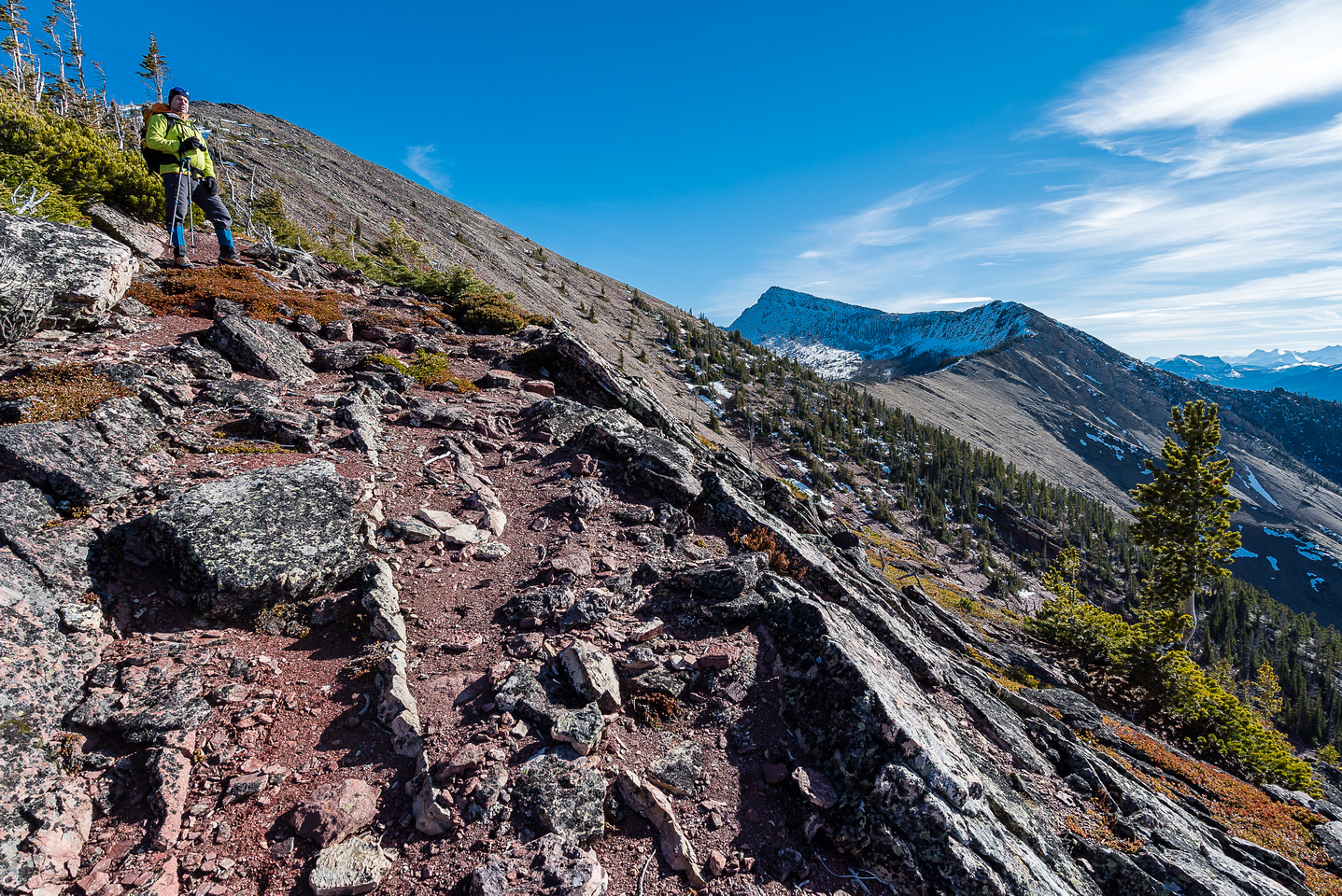 Looking back at our descent route with an unnamed - but interesting - peak at center distance.