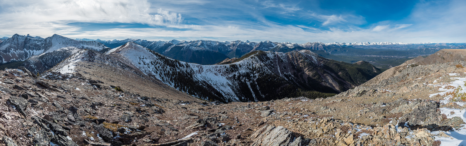 Looking south (L), west (C) and north (R) from the first summit over the rest of our ridge walk and Whistler Mountain.