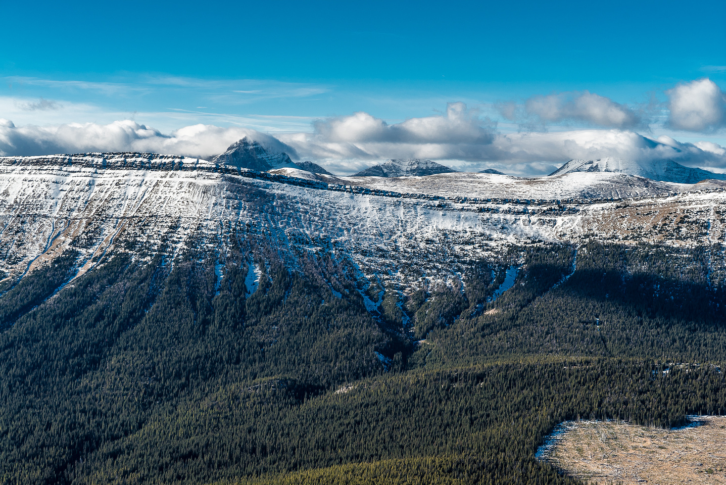 Looking over the north ridge of Monad towards Mount Lyall (L) and Gass (R).