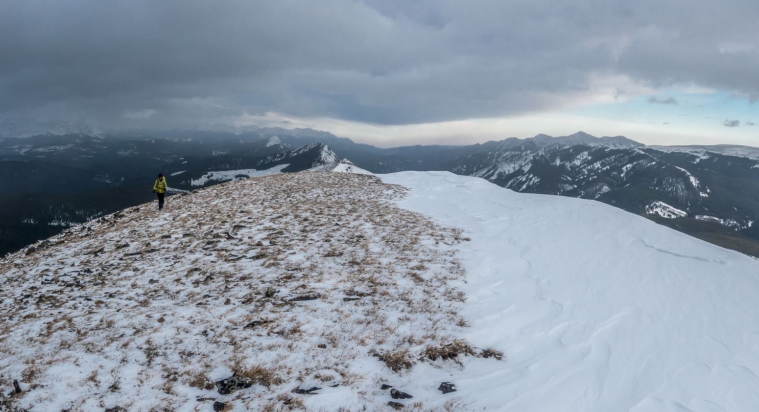 Looking north as Phil follows me up the ridge. Burke in the distance at right.