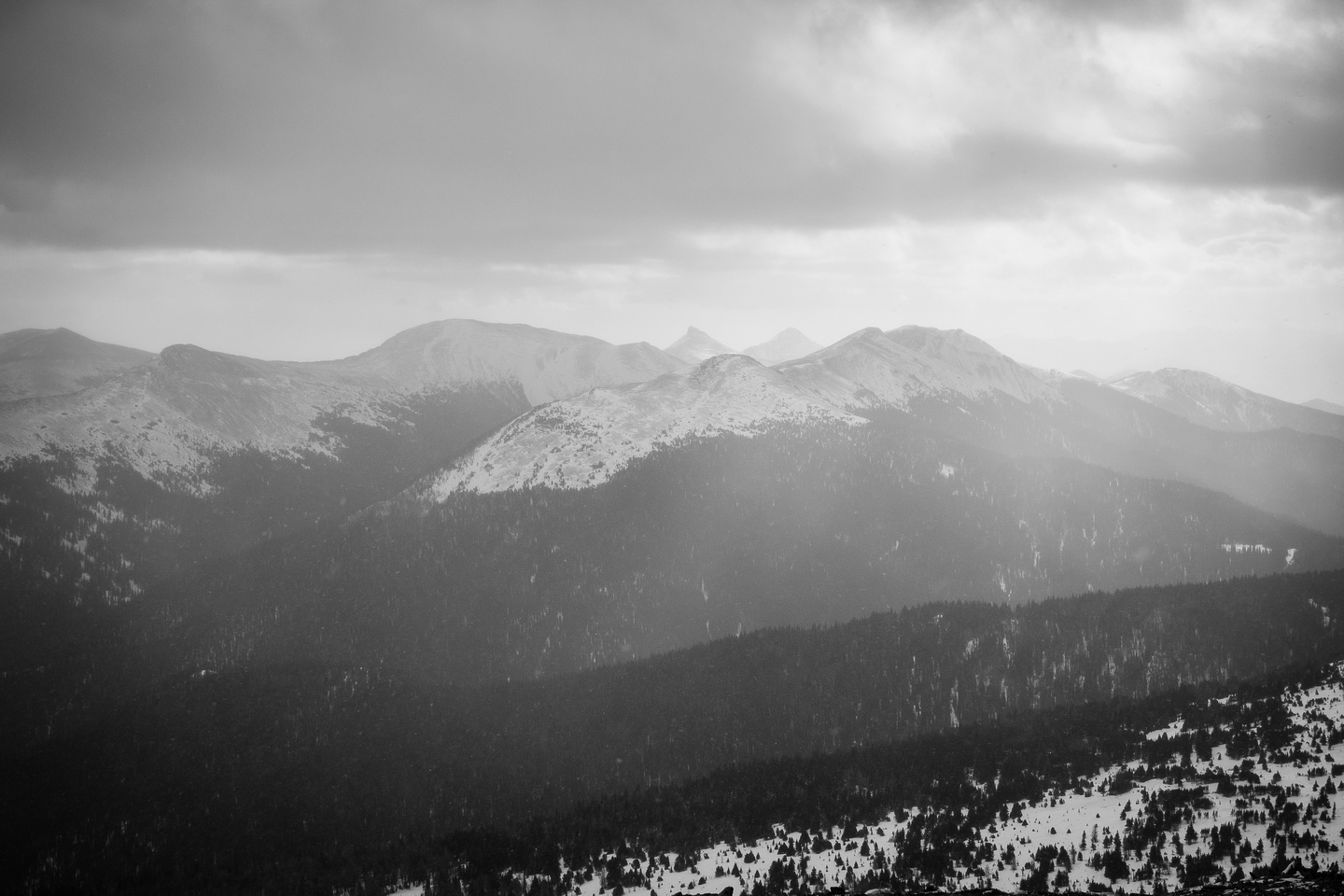 The only summit photo worth sharing - looking south towards Monad just left of center and Cabin Ridge (Twin Peaks) just right of center in the far distance.