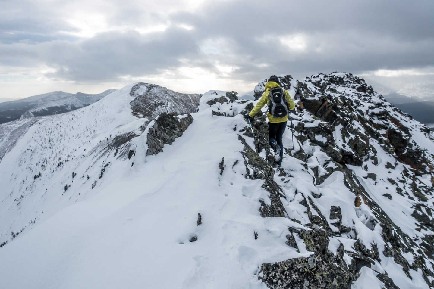 With snow and strong winds our job was slightly more complicated than normal on this peak.
