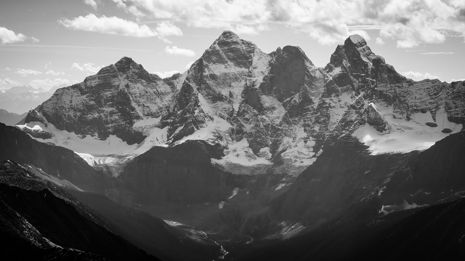 The incredible north faces of Sentry, Goodsir South, Center and North.