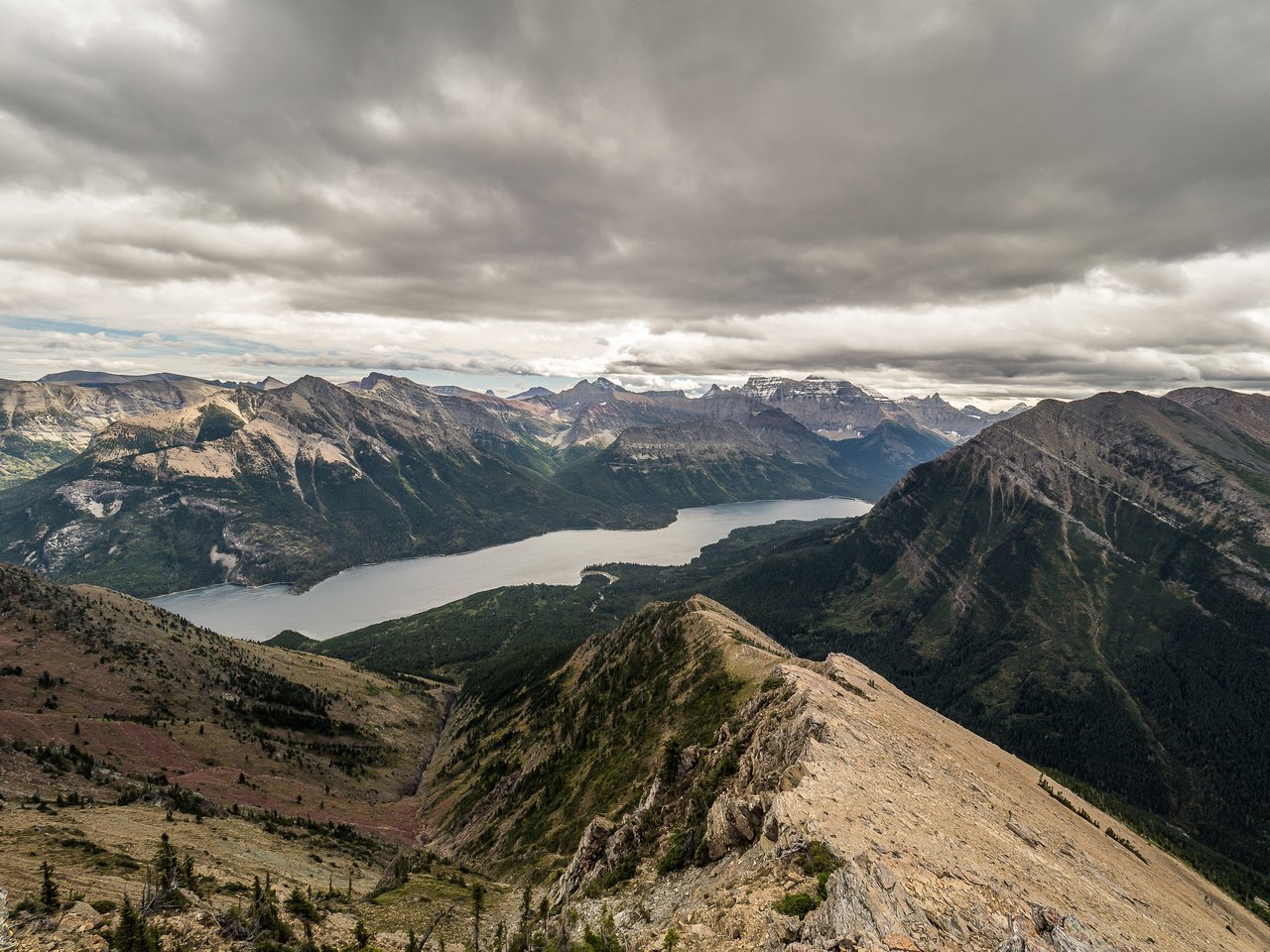 Looking down the SE ridge towards the Upper Waterton Lake with Boswell and Cleveland in the distance.