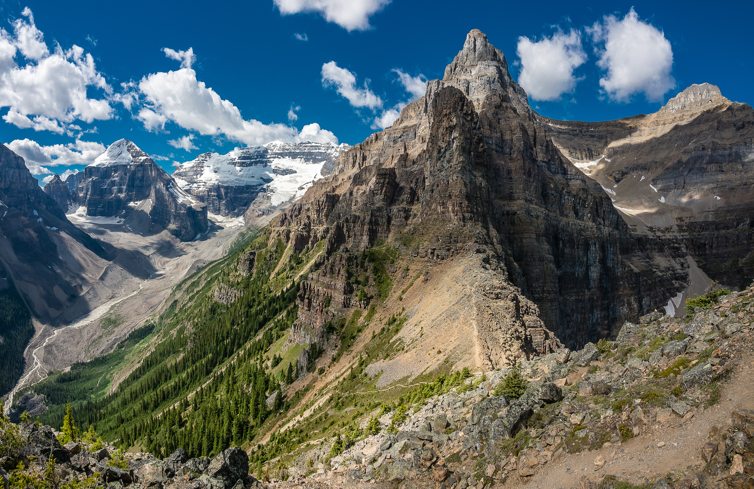 Great view towards the col with Mount Whyte from descent.
