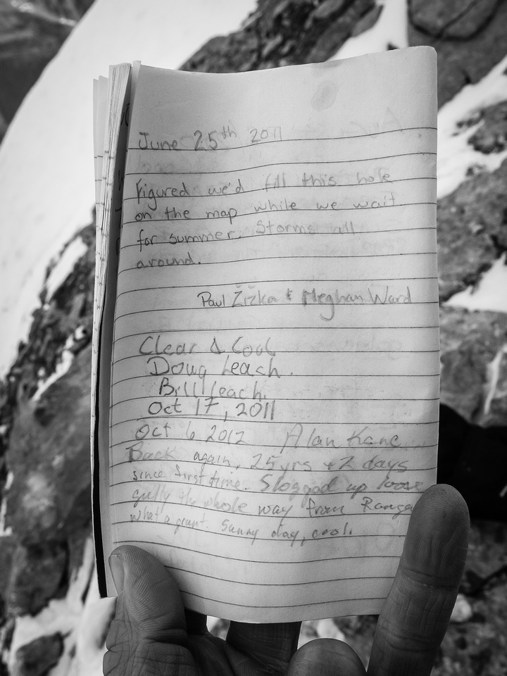 "For some reason the summit register was a bit of a ""who's who"" of local climbers. Maybe they've all run out of good objectives? :)"