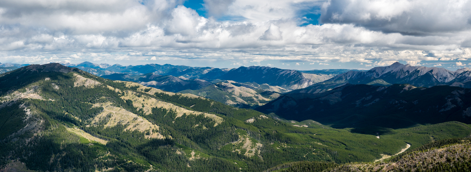 The unnamed ridge at left is almost as high as Ma Butte. Thrift Peak and Thunder Mountain at right in the distance.