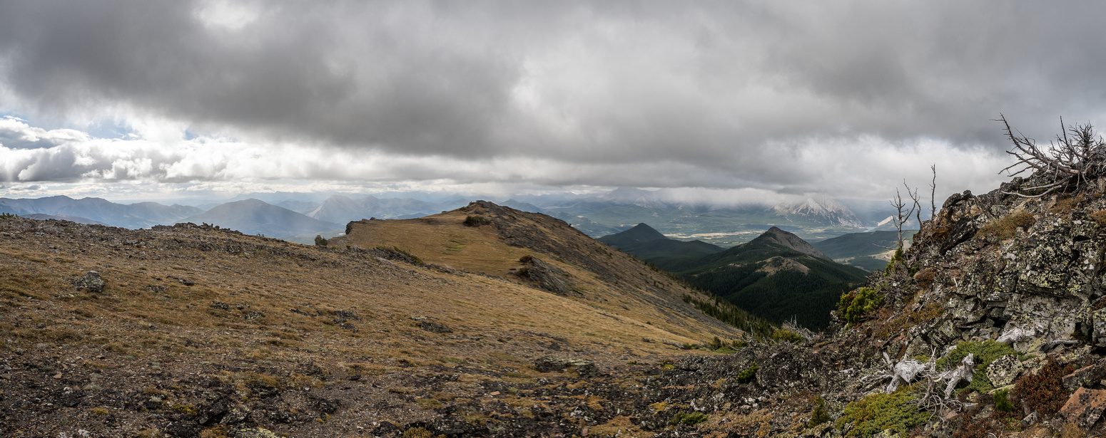 Looking back again - Saskatoon Mountain and Wedge Mountain at center. We're already much higher than either of those two minor summits.
