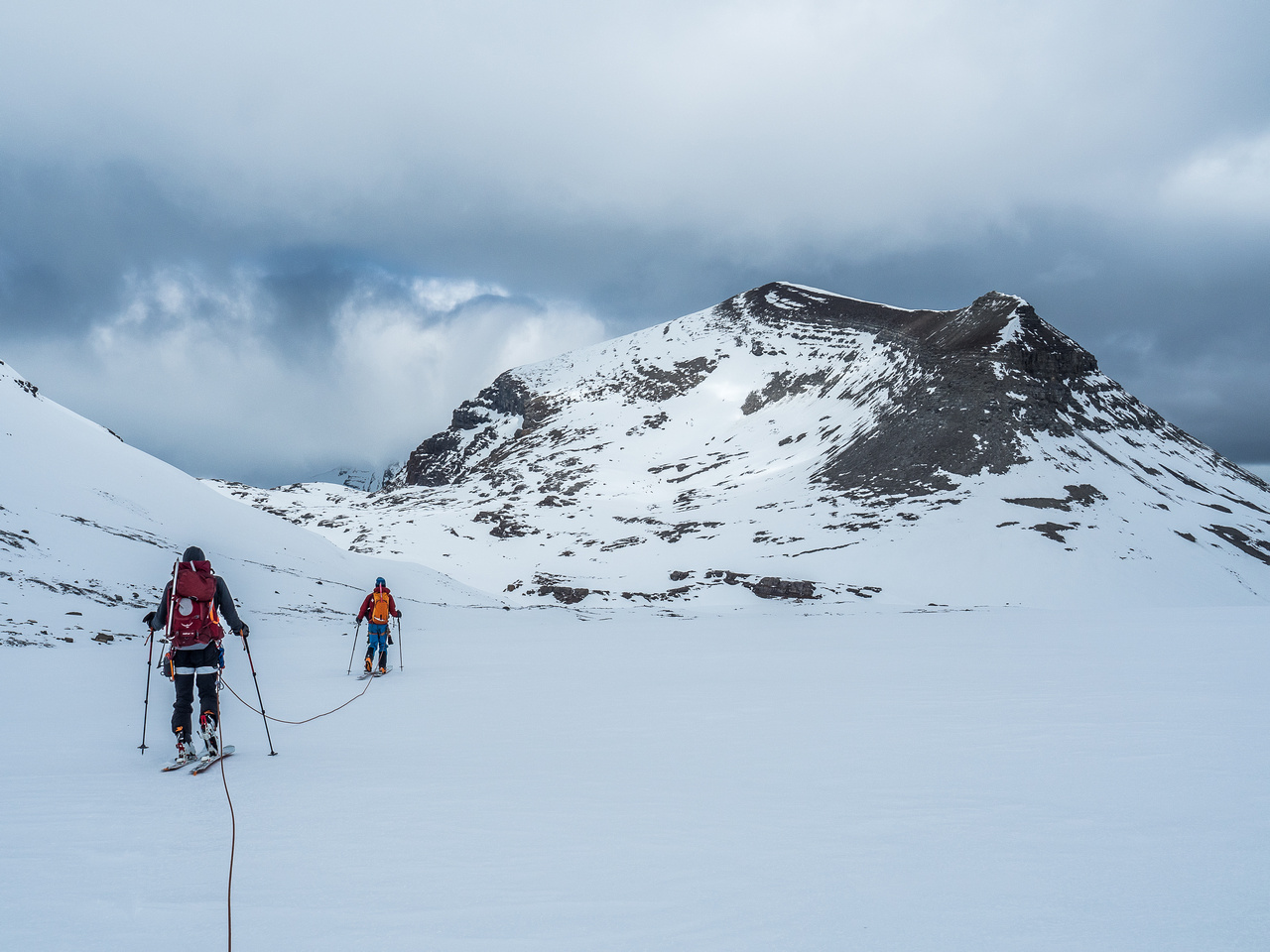 Finally skiing a direct line towards our objective and the Rearguard Meadows.