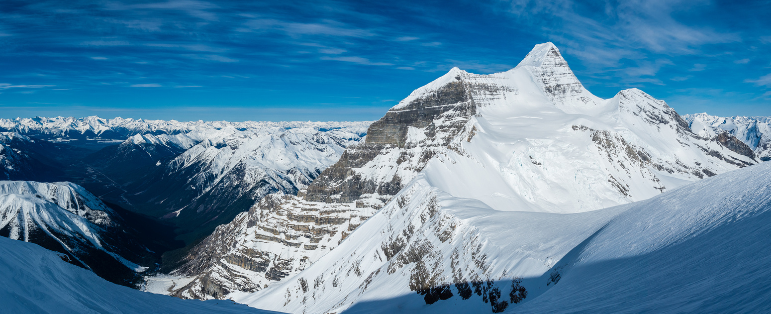 Mount Robson and the Kain Face as we ascend Resplendent. The Helmet to it's right doesn't look like much in comparison but it's also an 11,000er.
