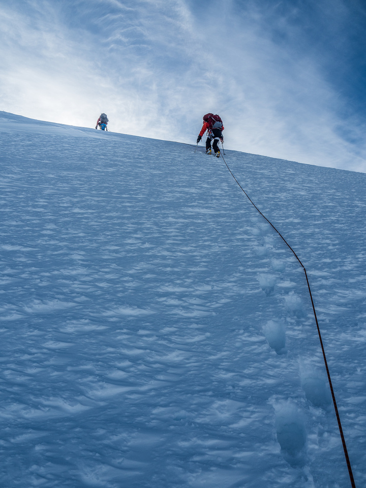 There are some surprisingly steep rolls on the summit ridge of Resplendent.