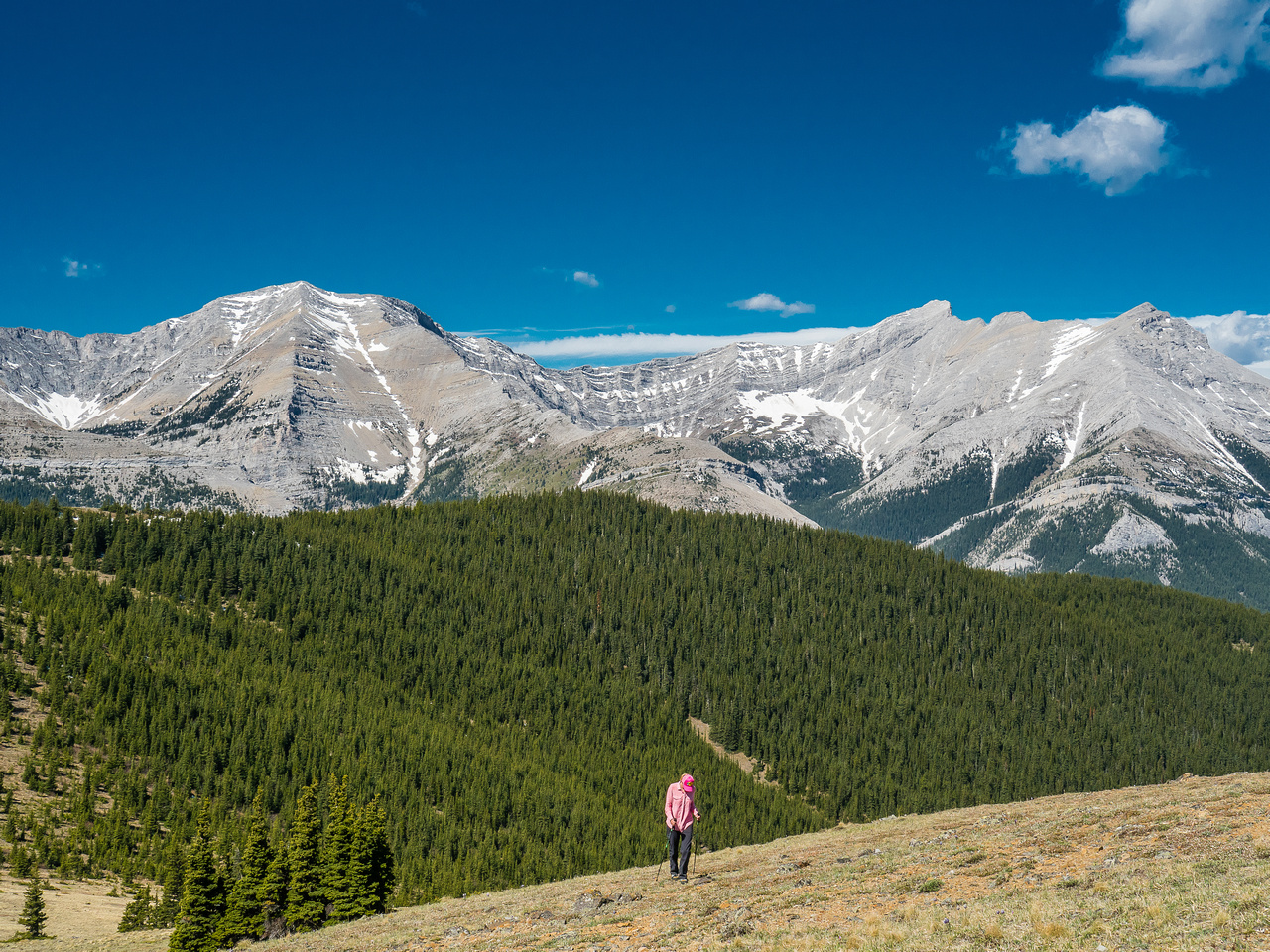 Hann comes up to the summit with Holy Cross (L) and Mount Head (R) in the background.