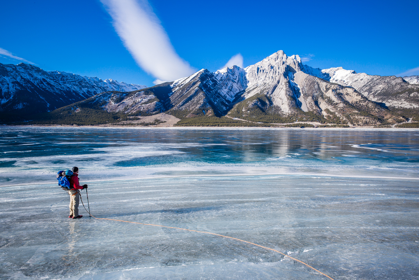 Roped up and ready to cross Abraham Lake.