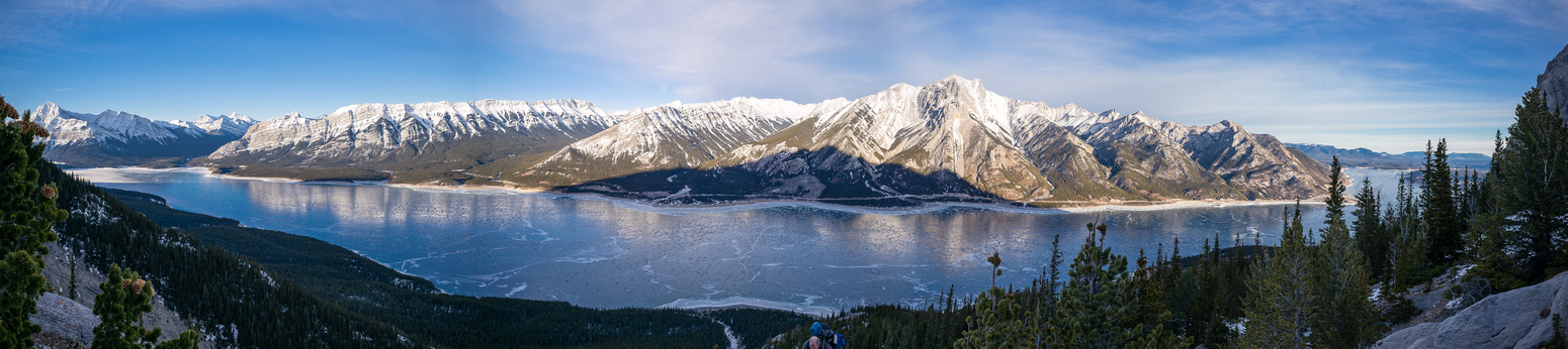 Abraham Lake stretches out almost in full view.