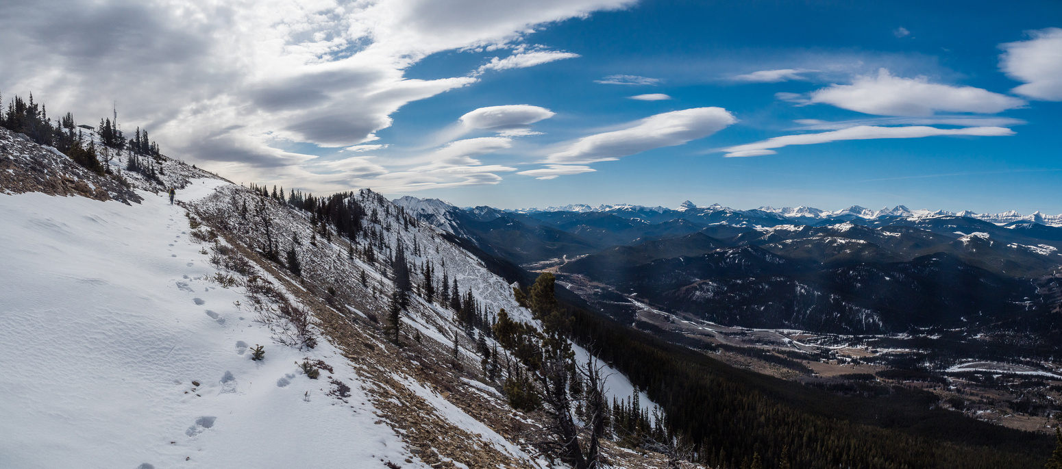 Wietse follows the lookout road up Thrift Peak - located at upper left - stunning views to the south and west along the Oldman River