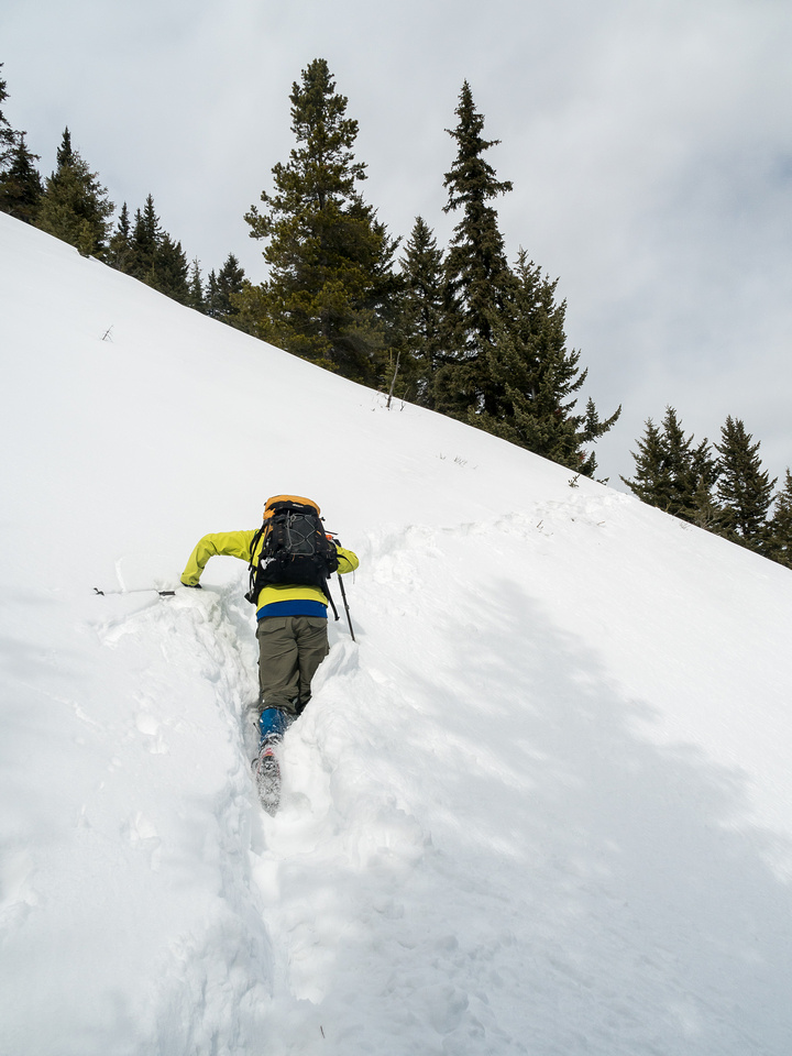 Wietse crossing an avy gully in waist deep, crappy, unconsolidated snow.