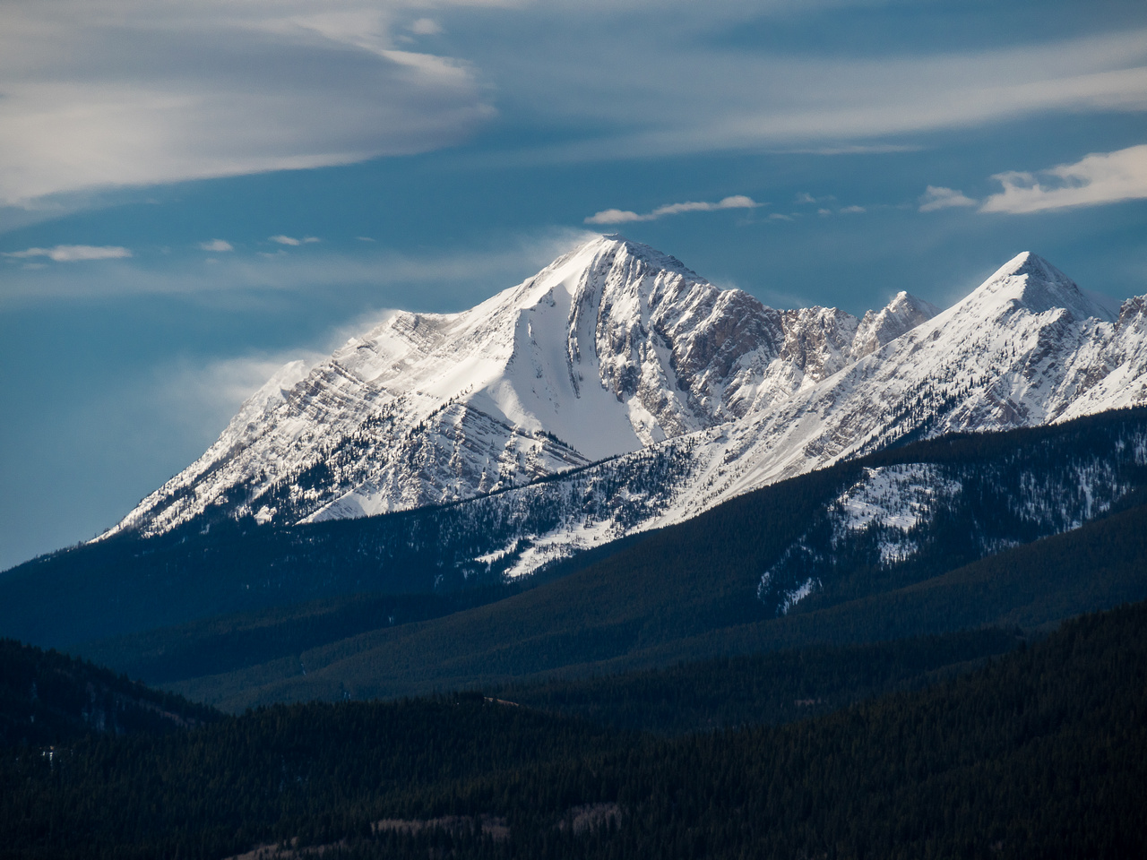 Telephoto of Center Peak - the highest in the Livingstone Range.