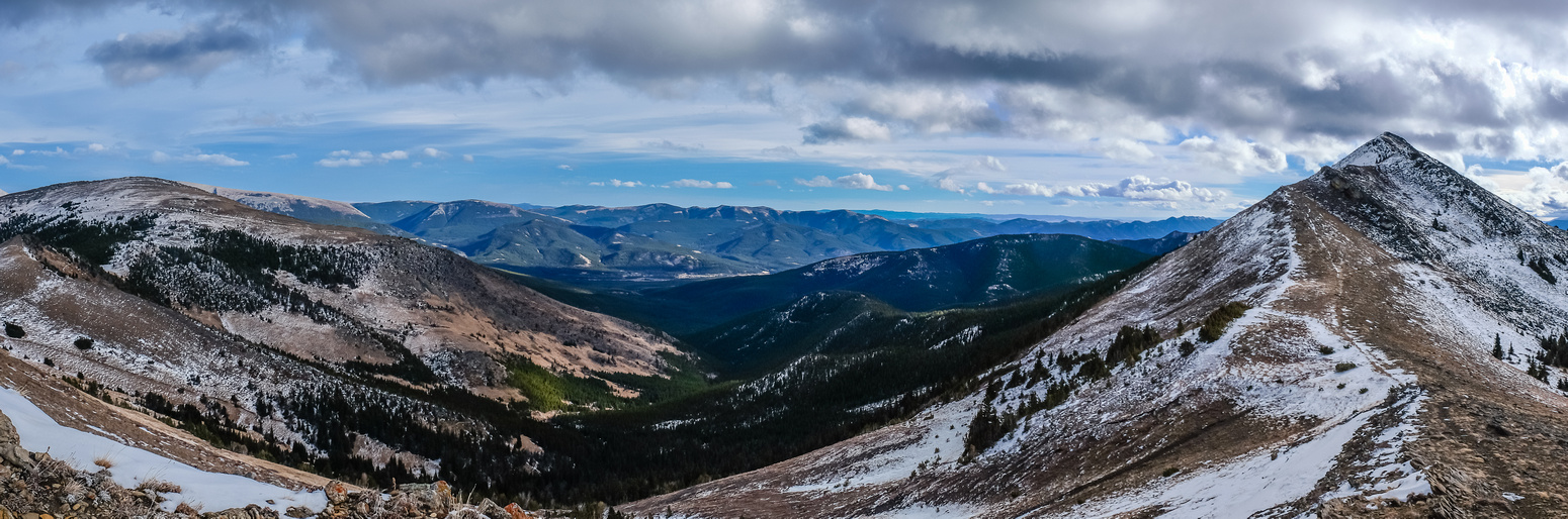 Pano looking towards the south peak and east towards Chaffen and Horseshoe.