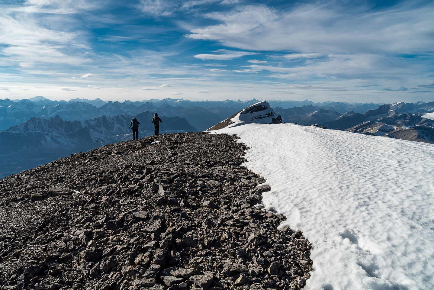 Leaving the summit as the shadows grow long.