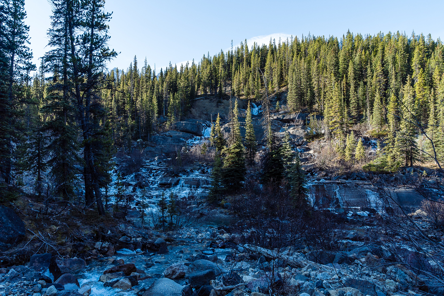 The waterfalls across from Waterfall Campground are partially frozen.