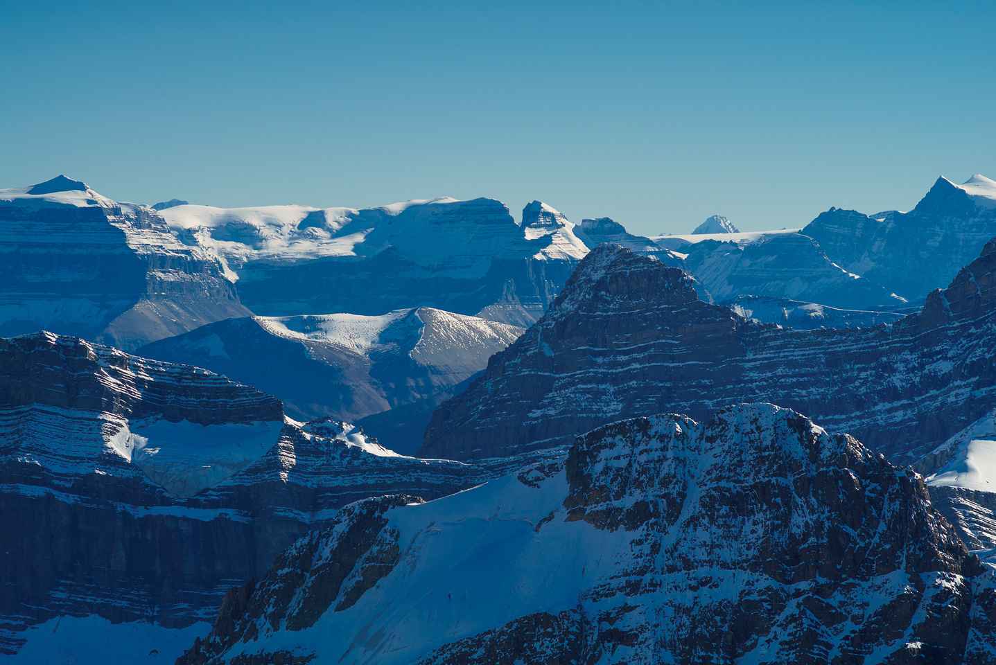 The gorgeous form of Mount Amery on the left with the Monchy Icefield curving around to the right.