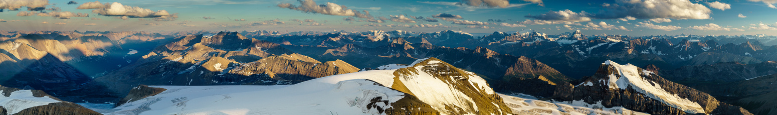 Huge summit panorama from the apex of Brazeau Mountain.