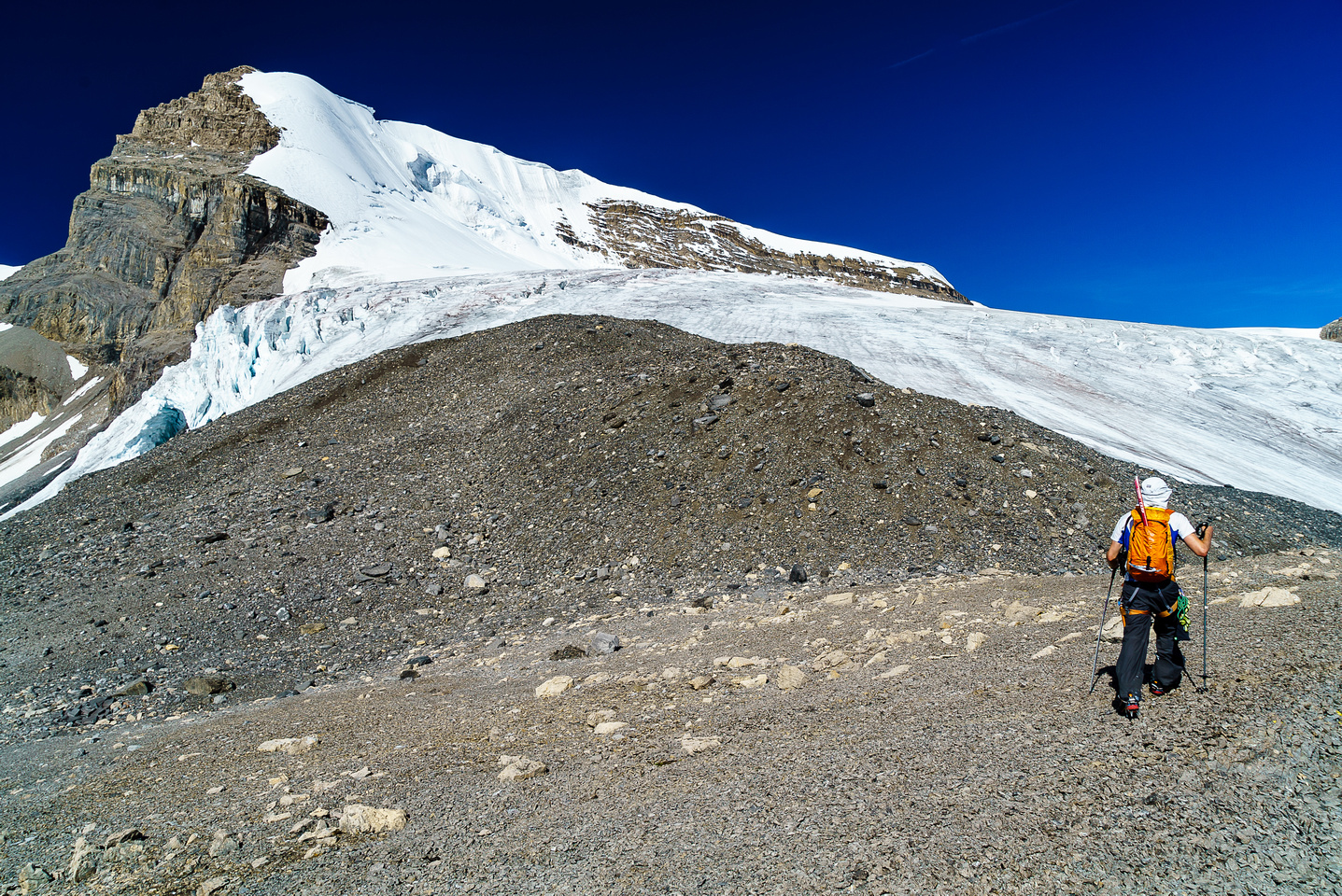 Near the top of the scree access to the glacial bench with Mount Warren looming above us.