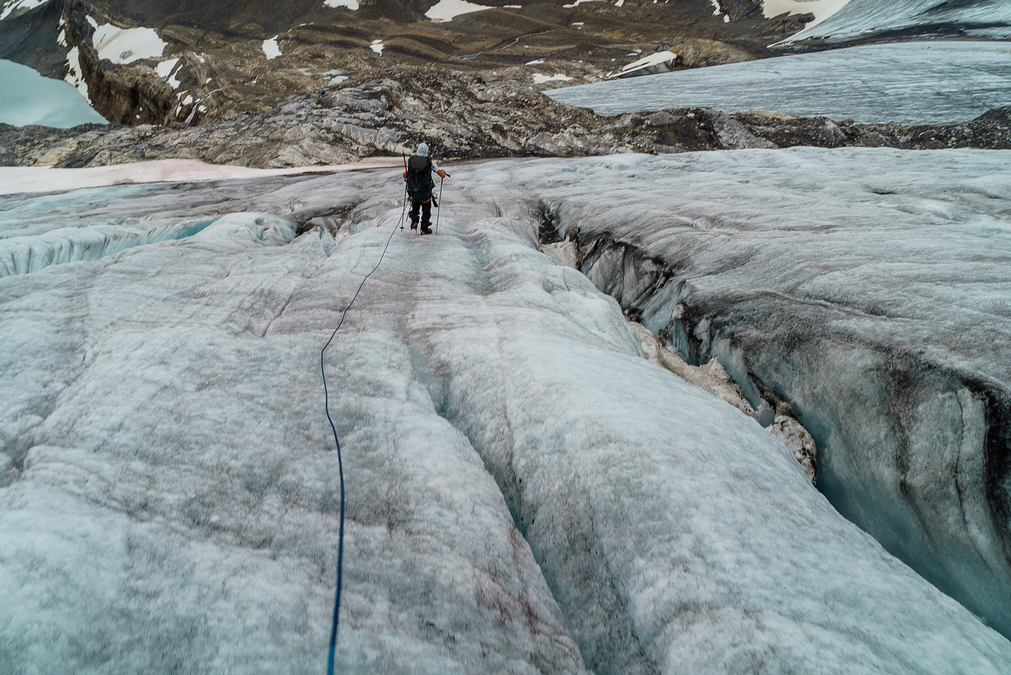 Descending the main glacier to the rock traverse -the lower glacier visible at top.