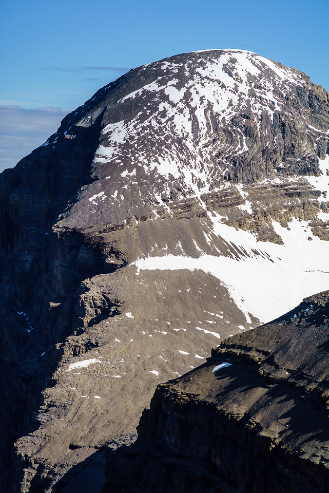 The easy south face of Mount Brazeau which we climbed with much more snow two days previous.