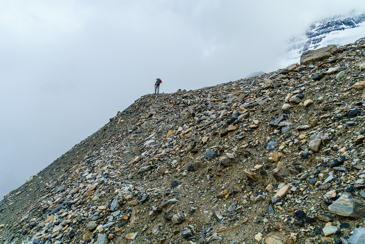 Ben on the moraines below the glacier. The trail through here is fairly obvious and marked with many large cairns.