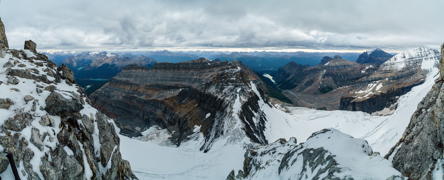 A pano looking back along the approach ridge from just under the crux.